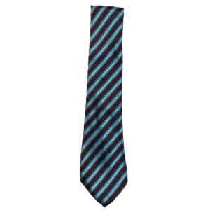 Blue and burgundy diagonal striped silk tie by Lacoste