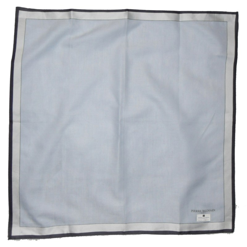 Light blue and grey cotton pocket square by Pierre Balmain