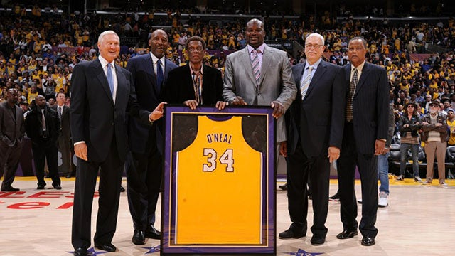 Los Angeles Lakers Retire Shaquille ONeals Jersey  LA