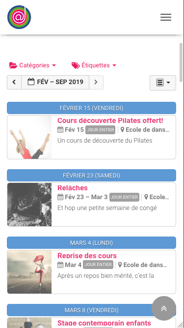 photo agenda web école de danse l'alternative smartphone
