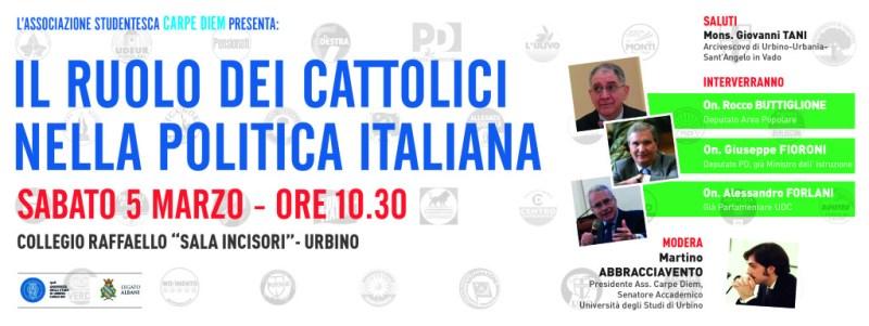Il ruolo dei cattolici nella politica italiana, se ne parla ad Urbino