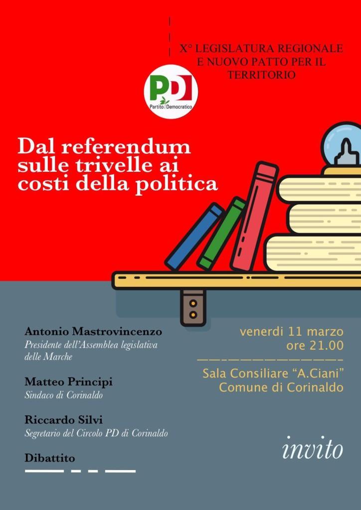 Referendum sulle trivelle e costi della politica, confronto a Corinaldo