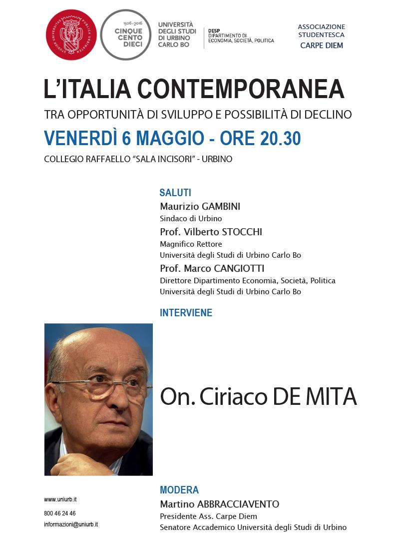 Ciriaco De Mita a Urbino sull'Italia contemporanea