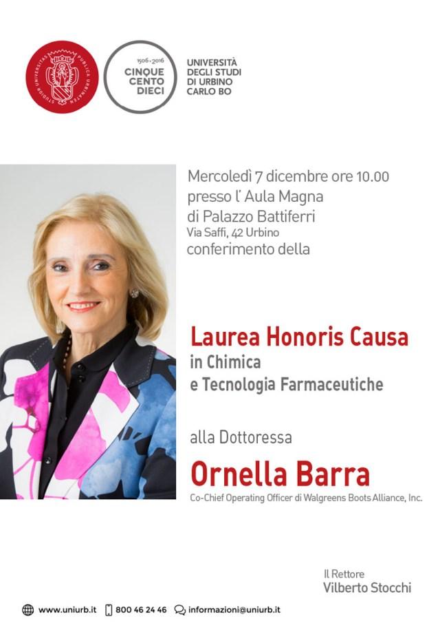 L'Università di Urbino rende onore alla prestigiosa carriera di Ornella Barra