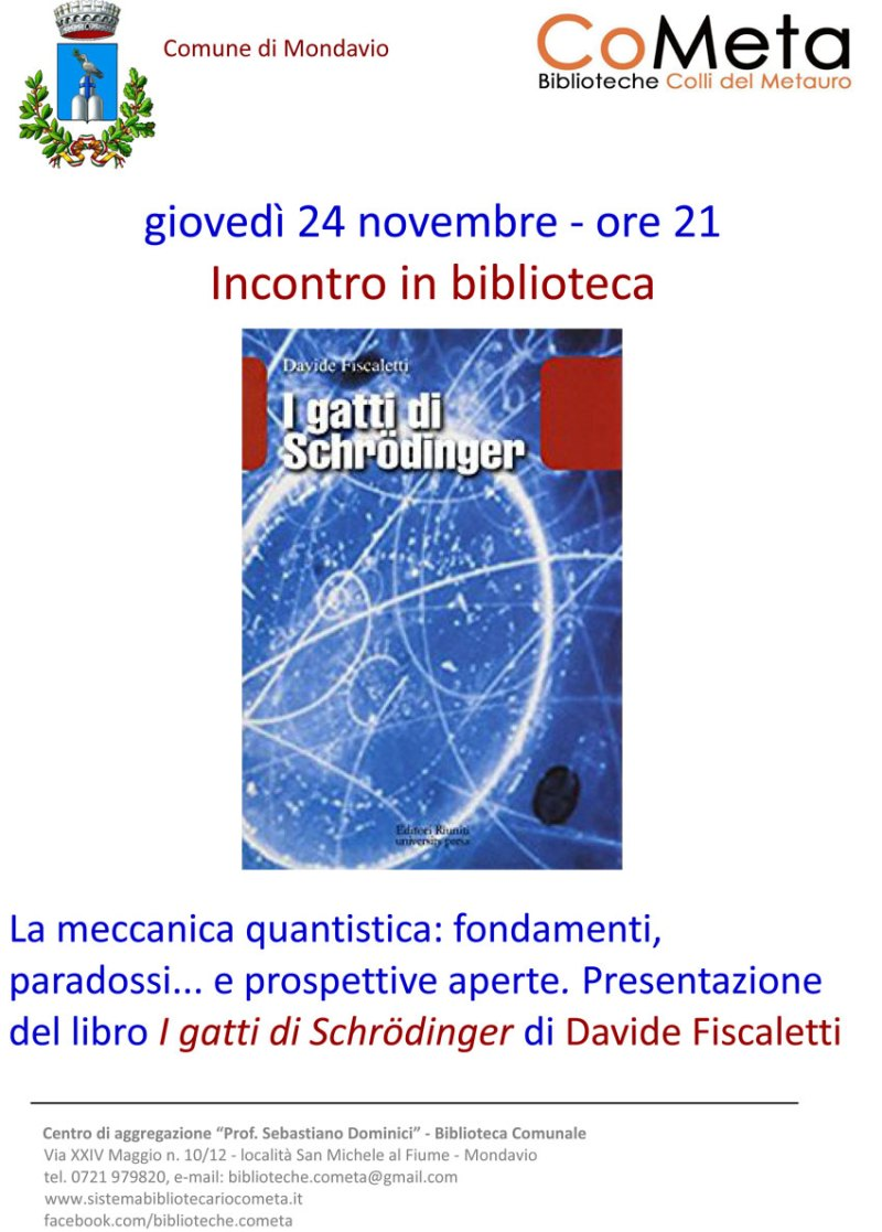 "MONDAVIO / In Biblioteca si presenta ""I gatti di Schrödinger"" di Davide Fiscaletti"