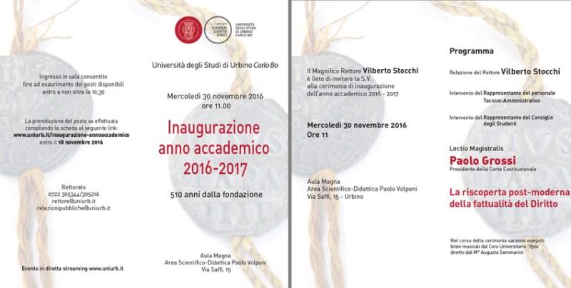 Il presidente della Corte Costituzionale Poalo Grossi inaugura l'Anno Accademico dell'Università di Urbino