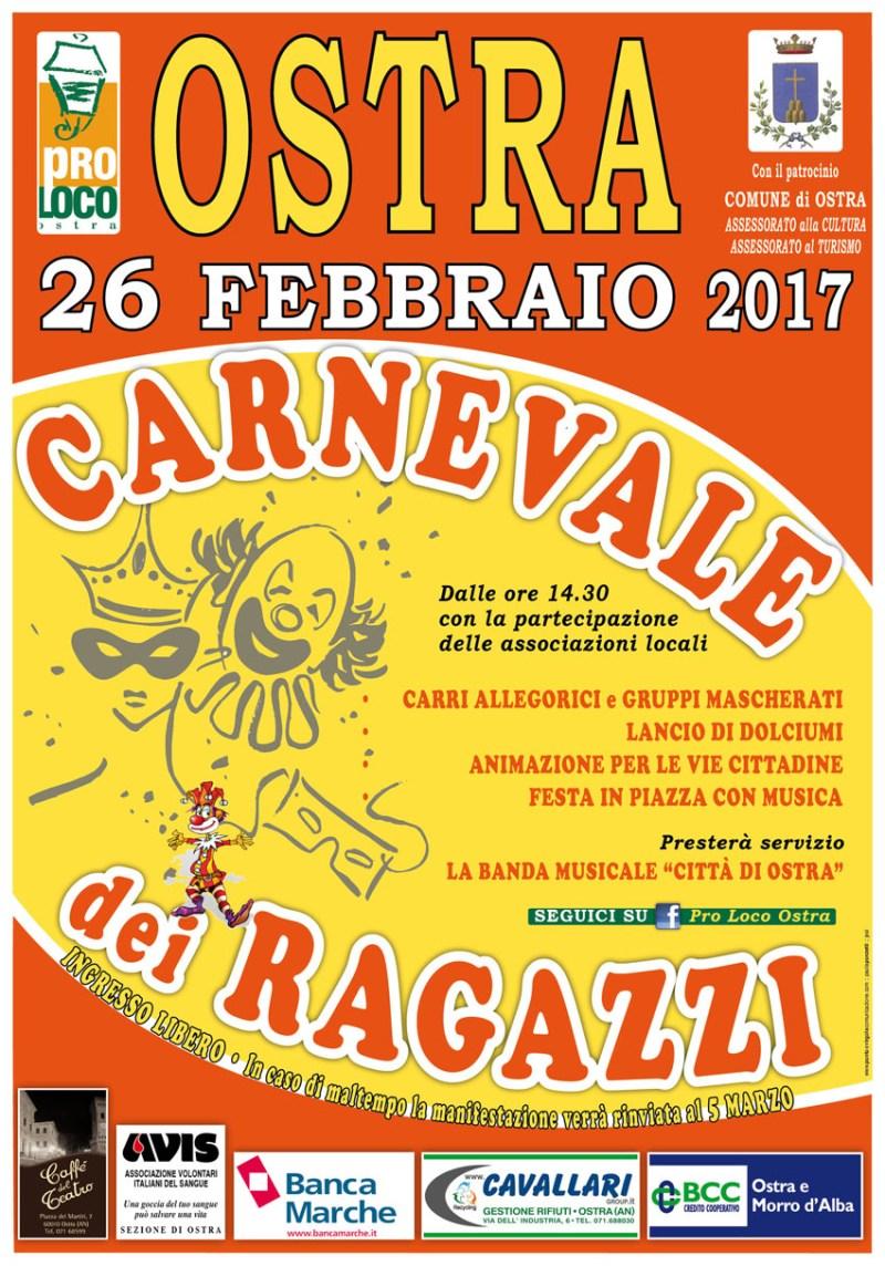 Anche ad Ostra è giunto il momento del Carnevale dei ragazzi 2017