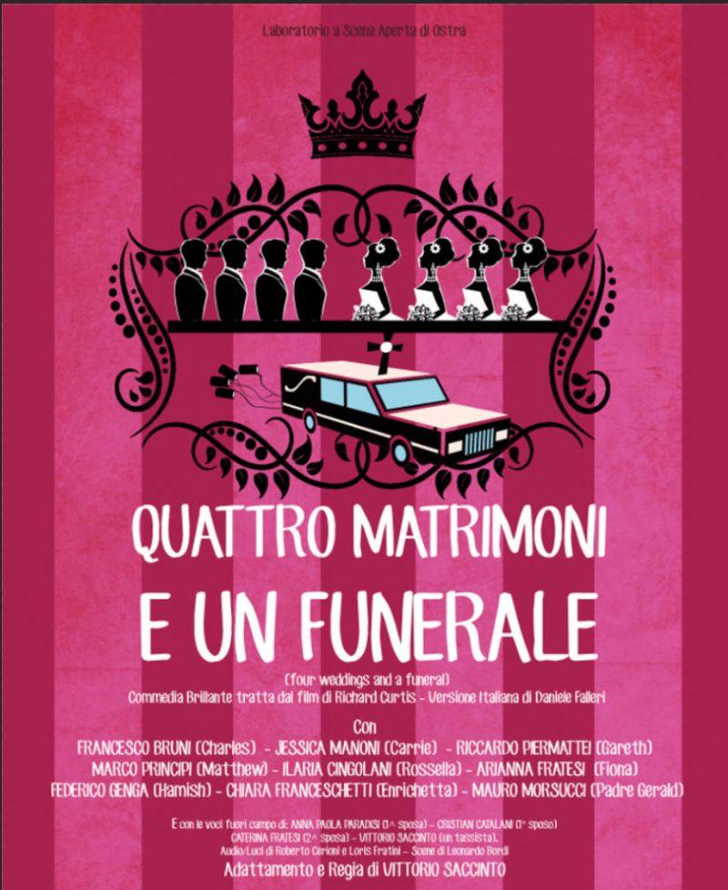 """CORINALDO / Sabato al Goldoni debutto per la nuova commedia del Laboratorio a Scena Aperta di Ostra """"Quattro matrimoni e un funerale"""""""