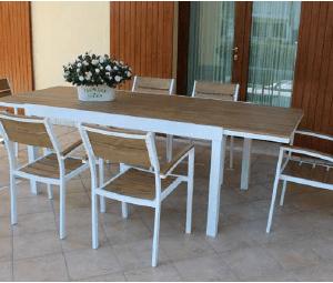 Tavolo Cayman cm.200/300x100 con 6 Poltrone Cayman col.Bianco
