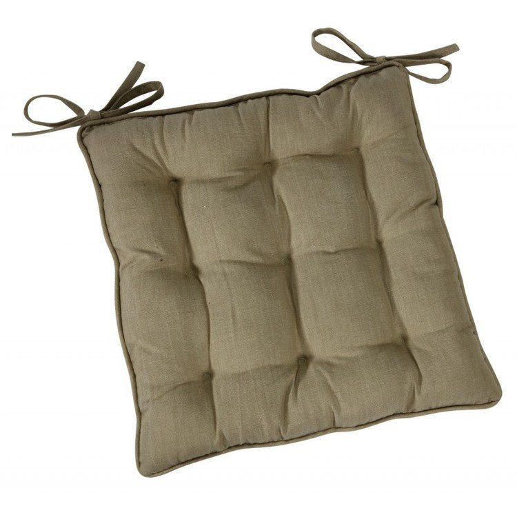 Linen colour chair pad with ties  Kitchen Chair Pads