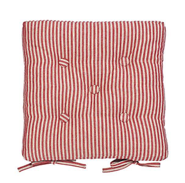 Red ticking stripe seat pad  Kitchen Chair Pads