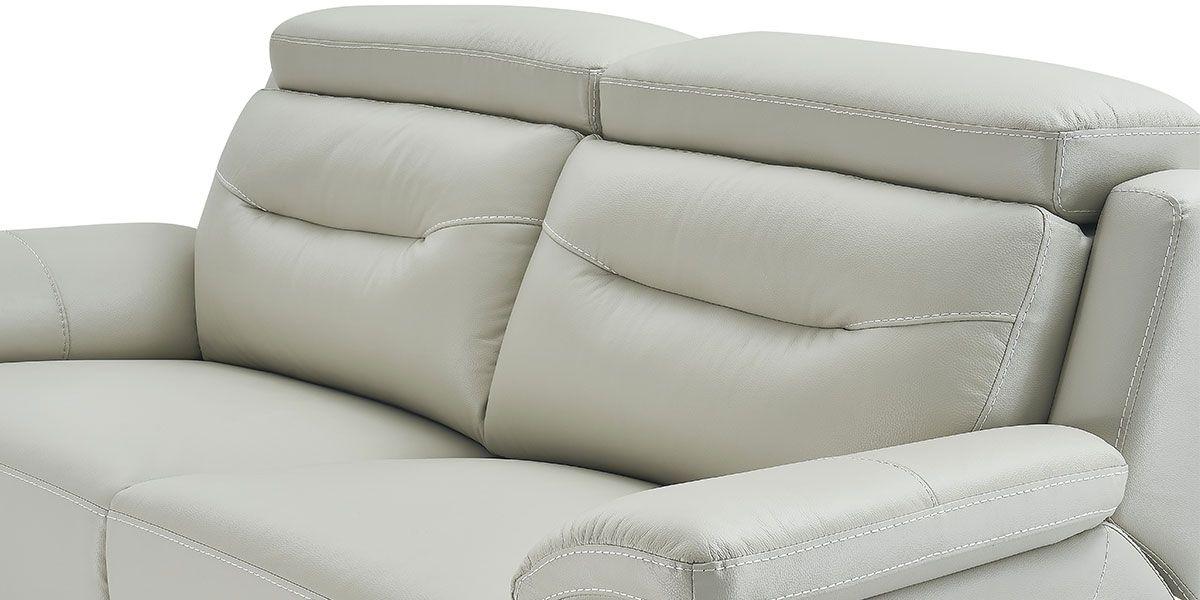 canape relaxation electrique 2 places en cuir serena gris perle