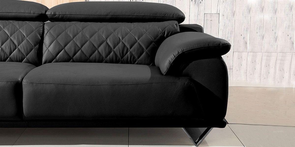 canape 3 places en cuir garcia noir