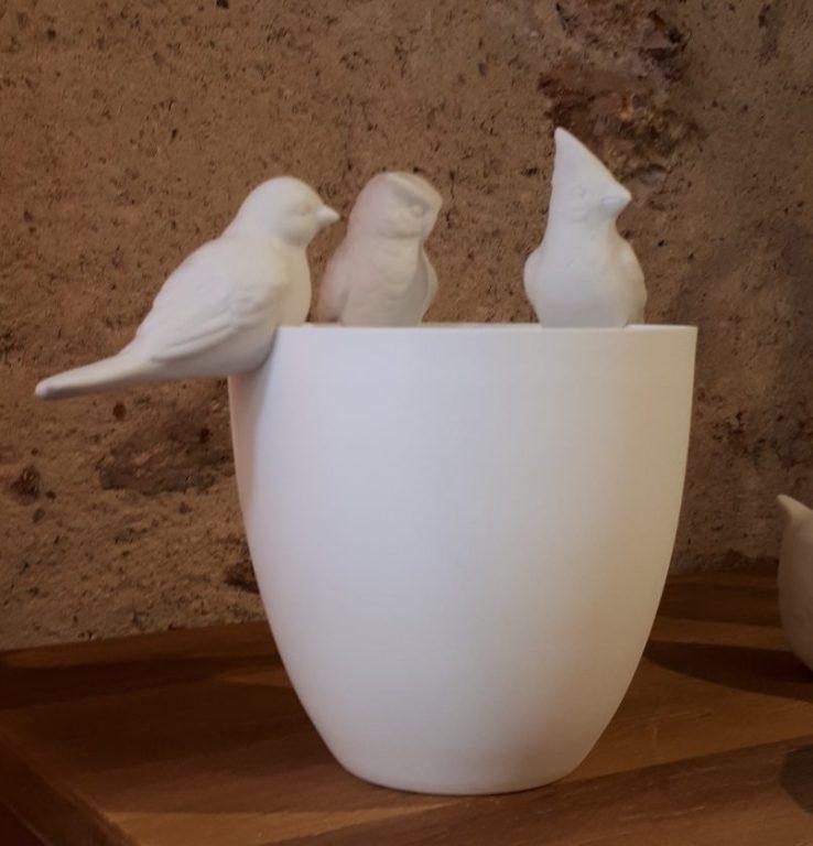 Veilleuse et oiseaux en porcelaine