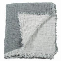 Couvre-lit lin gaufré bicolore
