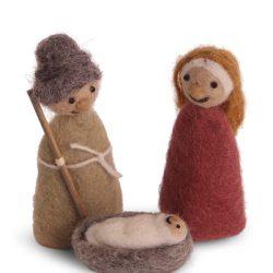 Jésus, Marie et Joseph - Crèche en laine