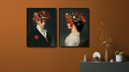 Paire de portraits collector. peinture sur aluminium