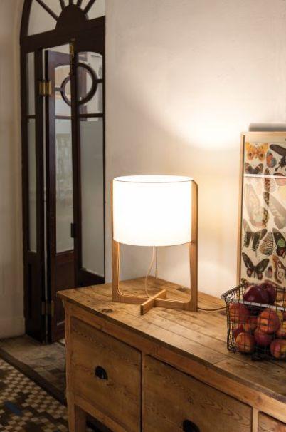 lampe à poser chêne et lin