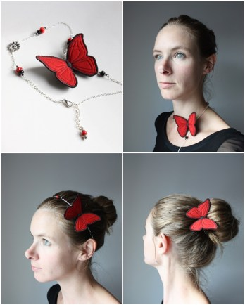 Headband papillon chic en soie rouge