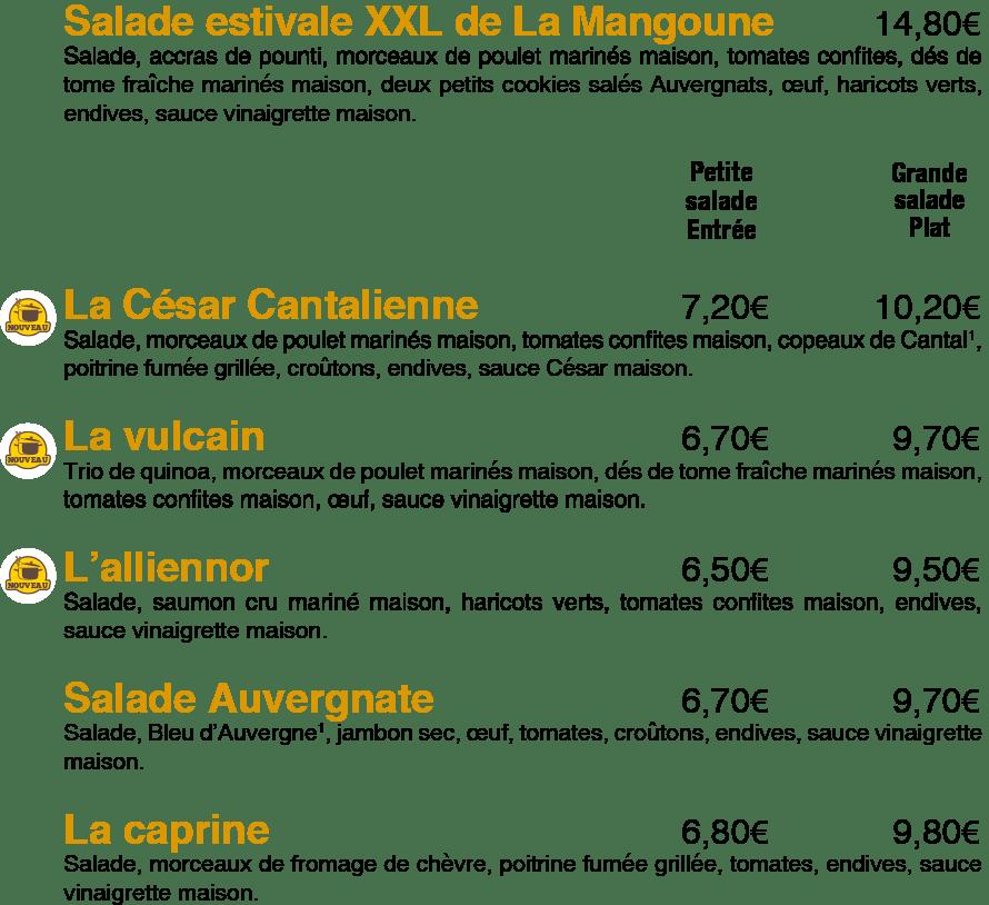 Les salades de La Mangoune