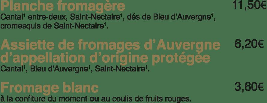 Les fromages à La Mangoune
