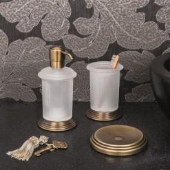 Colombo Design Arredo Bagno Hermitage B9335 spandi sapone ottone antico vetro acidato naturale