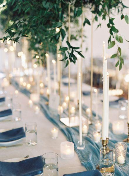 chemin de table mariage bleu