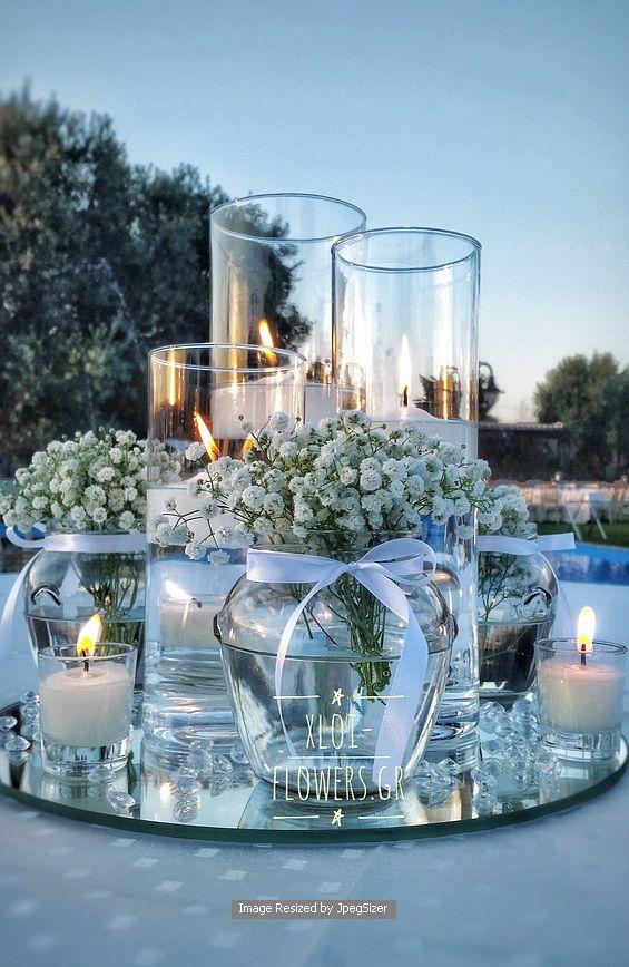 Centre de table extérieur mariage bleu