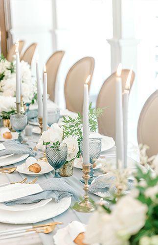 Table vintage mariage bleu