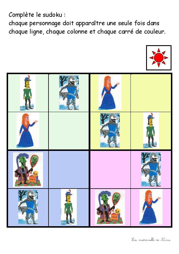 Jouer au sudoku avec les personnages de l'histoire de Coeurdor