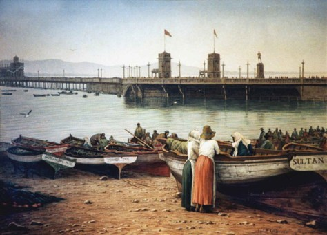 Fisherman's Beach, Waterfront, circa 1920 Oil on canvas Approx 230 x 160 cm