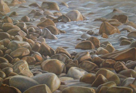 Rocky Seascape, Oil on canvas 90 x 60 cm. Available from Masterart via this website.