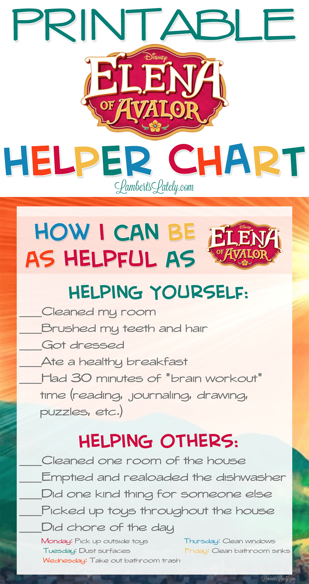 free printable chore chart for summer || Elena of Avalor Disney Junior printables || helper chart for kids || preschoolers