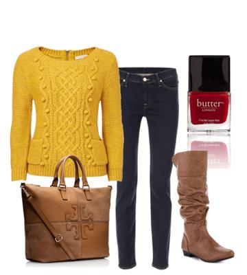 Mustard sweater with Tory Burch purse
