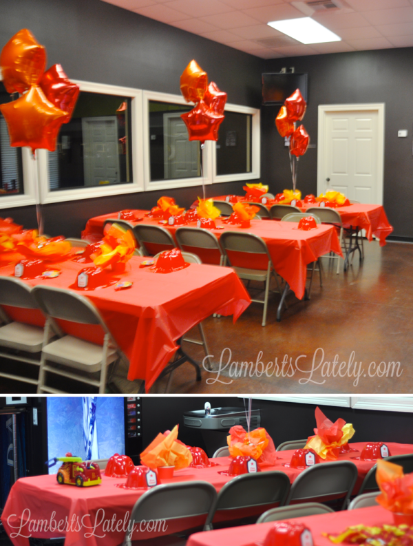 Table and centerpiece ideas for fireman / firetruck birthday party