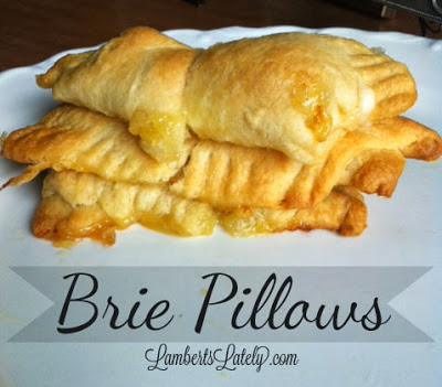 Baked Brie Pillows...SO ooey, gooey delicious.  Only 3 ingredients to absolute wow guests! https://www.lambertslately.com/2013/09/baked-brie-pillows-recipe.html
