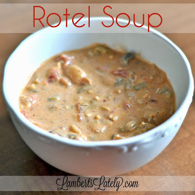 This Rotel Soup recipe is the easiest thing you'll ever make!  Prepared in the Crock Pot, and absolutely delicious... perfect for fall/winter. https://www.lambertslately.com/2013/10/rotel-soup-recipe.html
