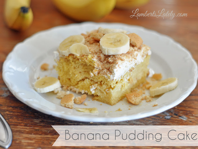 Melt in your mouth banana pudding cake!  This is the perfect recipe for a potluck dinner (or any dinner, for that matter).  Yum! https://www.lambertslately.com/2013/04/recipe-banana-pudding-cake.html