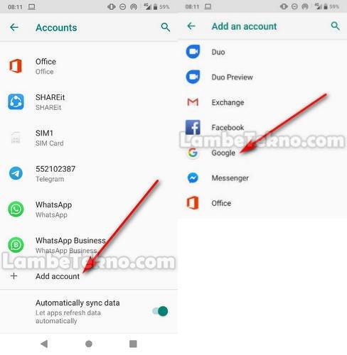 Pilih Add Account (Tambah Akun)