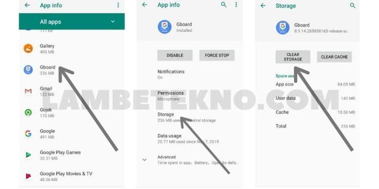 Hapus Data Untuk Mengatasi Huruf Keyboard Android Tidak Berfungsi