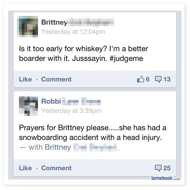 Lamebook – Funny Facebook Statuses. Fails. LOLs and More – The Original » Heading for an Injury