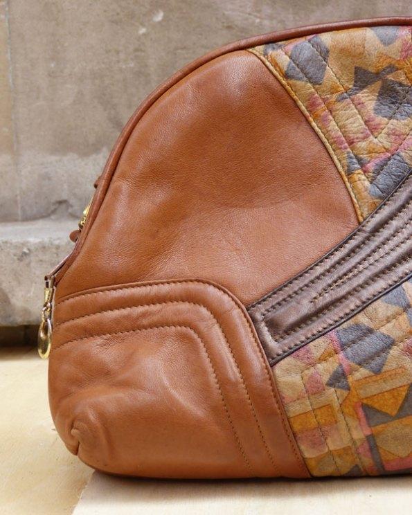 """Bolso 80's de """"patchwork"""" en piel"""