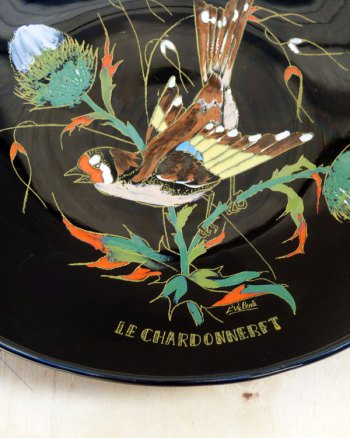 Longwy French Enamel Plate With Mockingbird