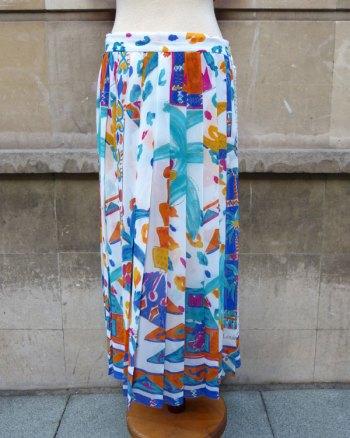 Long Silk Pleats Skirt by Louis Féraud