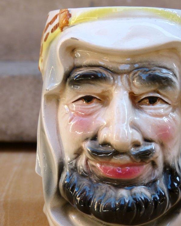 Jarra de porcelana japonesa o Toby Jug con cara de Jeque Árabe