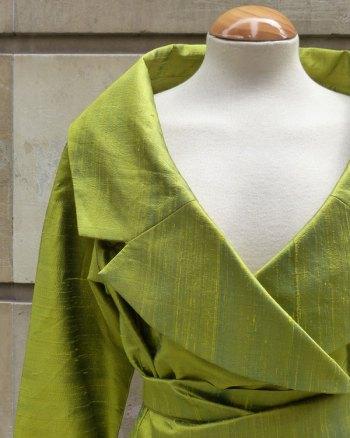 Chaqueta de seda Shantung verde manzana