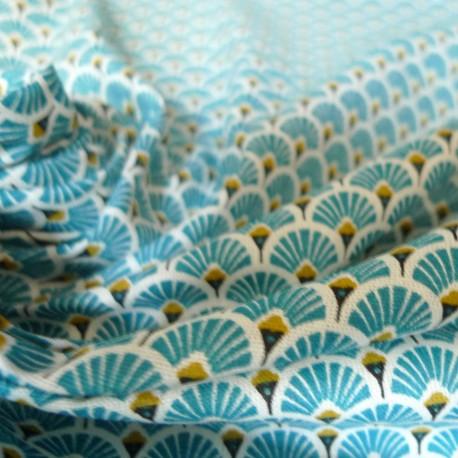 tissu japonais eventails turquoise tissus