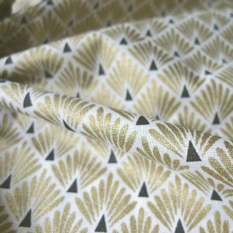 tissu japonais paon or tissus