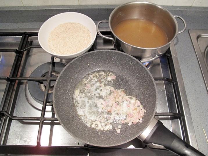 Moscardini in umido, preparazione del riso