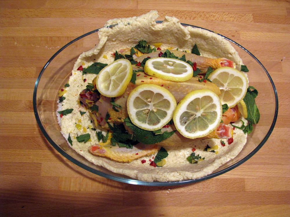 Pollo in crosta con menta e limone, preparazione 2